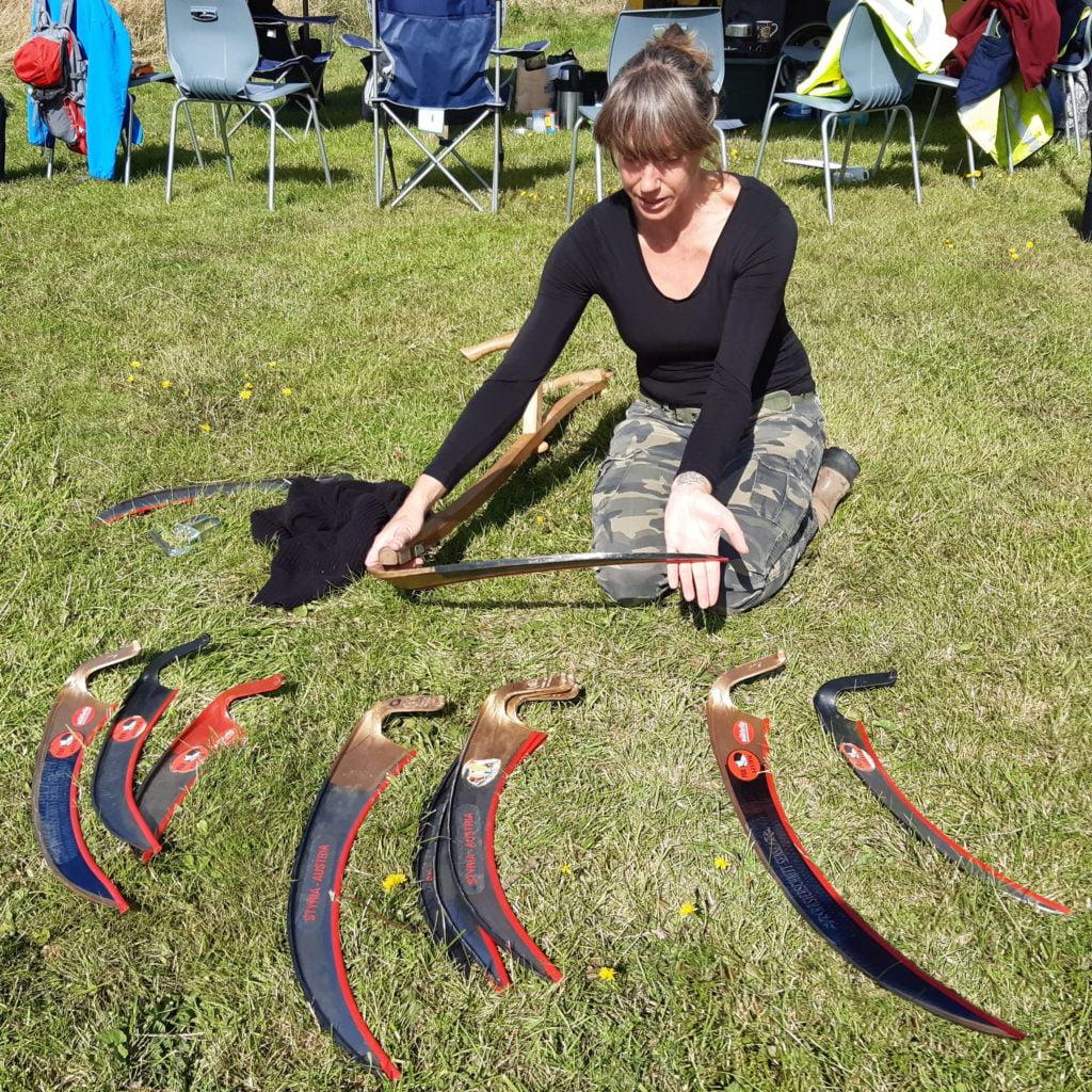 A range of scythe blades